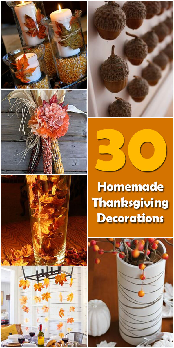 30 homemade diy thanksgiving decorations holiday vault for Handmade thanksgiving decorations