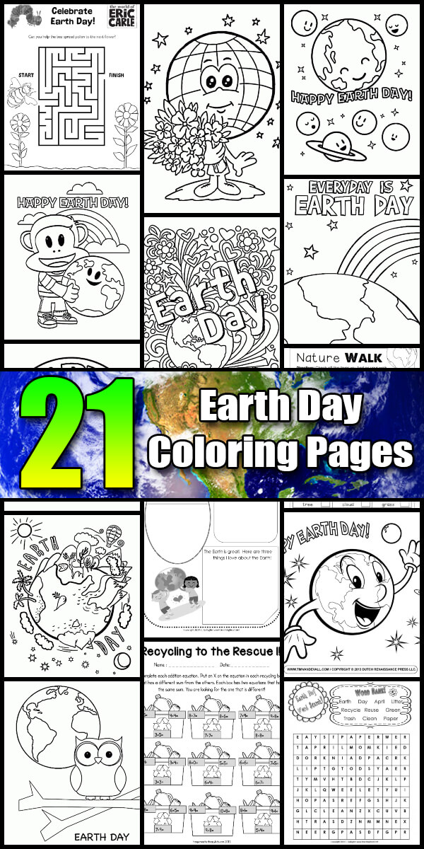 21 Printable Earth Day Coloring Pages - Holiday Vault #EarthDay
