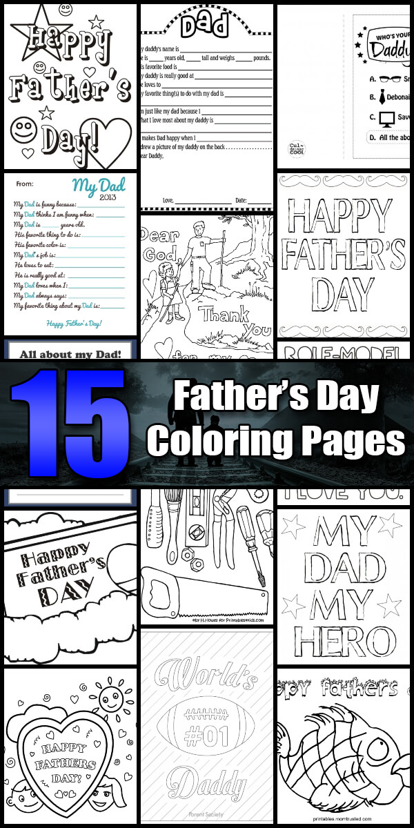 15 Printable Father's Day Coloring Pages - Holiday Vault #FathersDay