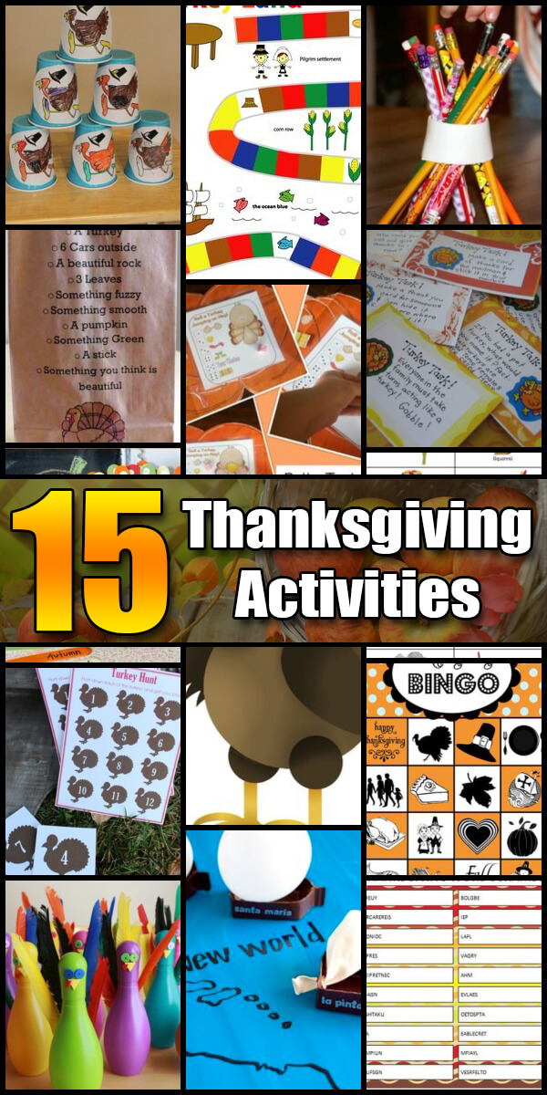 15 Fun Thanksgiving Activities for Kids - Holiday Vault #Thanksgiving