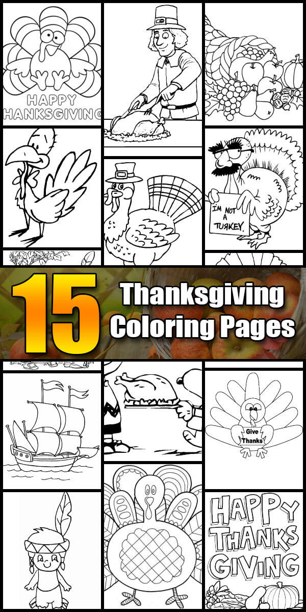 15 Printable Thanksgiving Coloring Pages - Holiday Vault #Thanksgiving