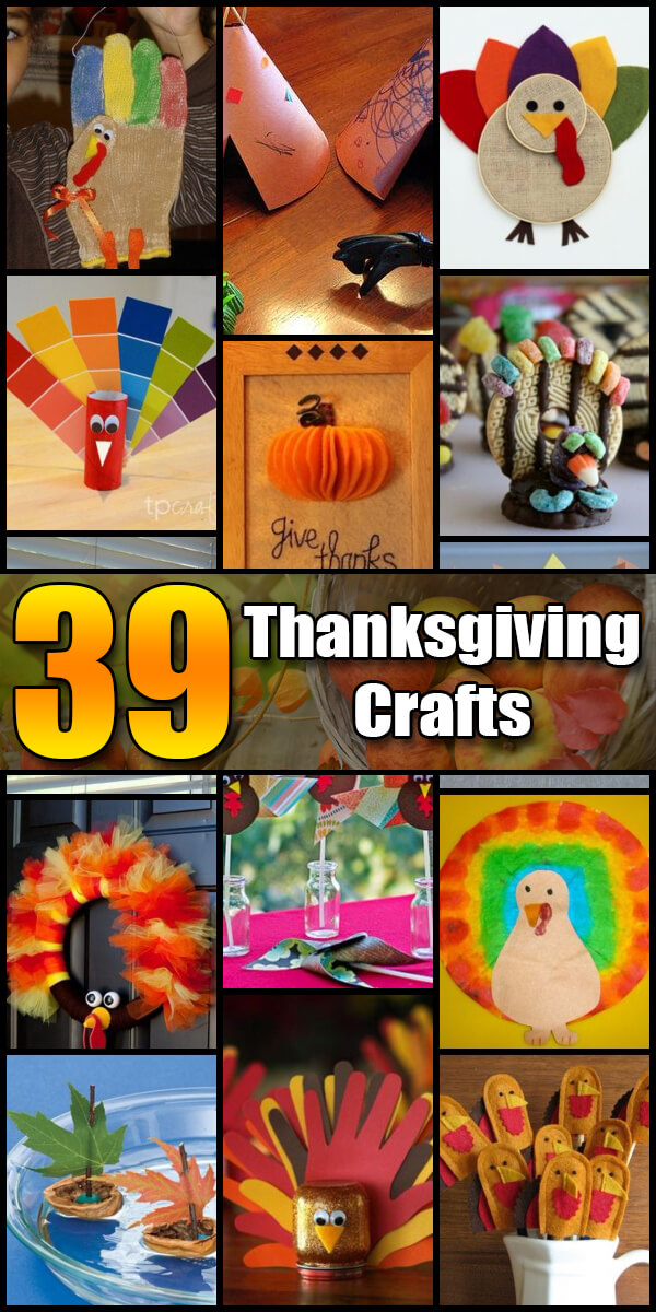 39 Fun Thanksgiving Crafts for Kids - Holiday Vault #Thanksgiving