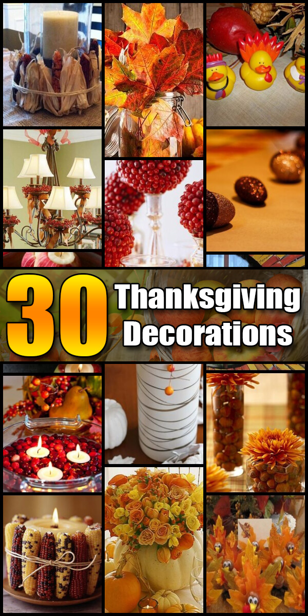 30 Homemade DIY Thanksgiving Decorations - Holiday Vault #Thanksgiving