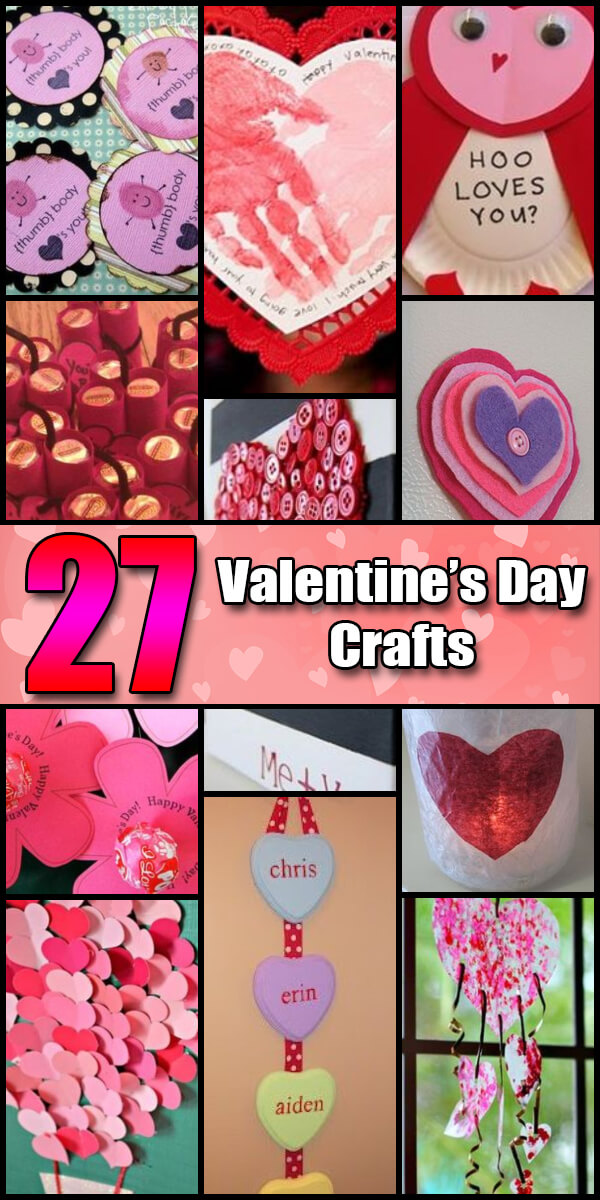 27 Fun Valentine's Day Crafts for Kids - Holiday Vault #ValentinesDay #ValentinesDayIdeas #ValentinesDayCrafts #ValentinesDayCraftsForKids