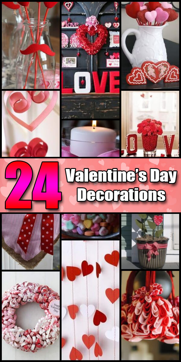 24 Homemade DIY Valentine's Day Decorations - Holiday Vault #ValentinesDay #ValentinesDayIdeas #ValentinesDayDecor #ValentinesDayDecorations